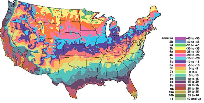 USDA Climate Zones Map - Us map climate zones
